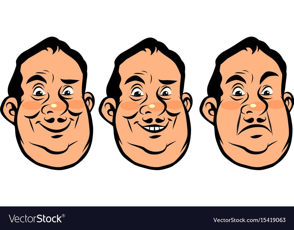 Three emotions head fat vector image