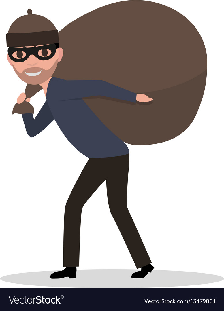 Cartoon male thief carrying bag with a loot vector image