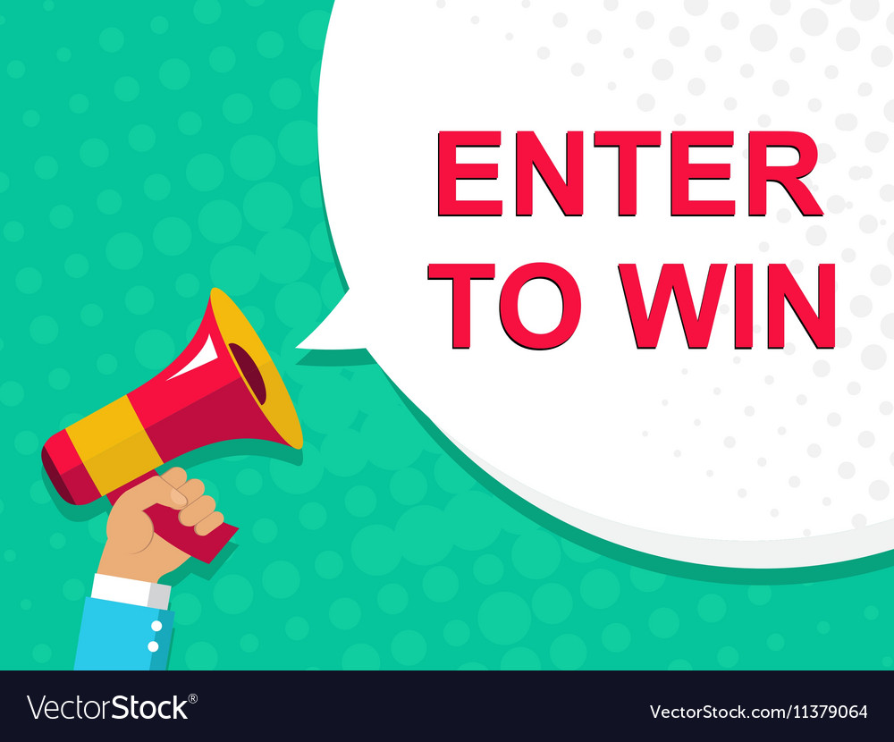 Megaphone with ENTER TO WIN announcement Flat vector image