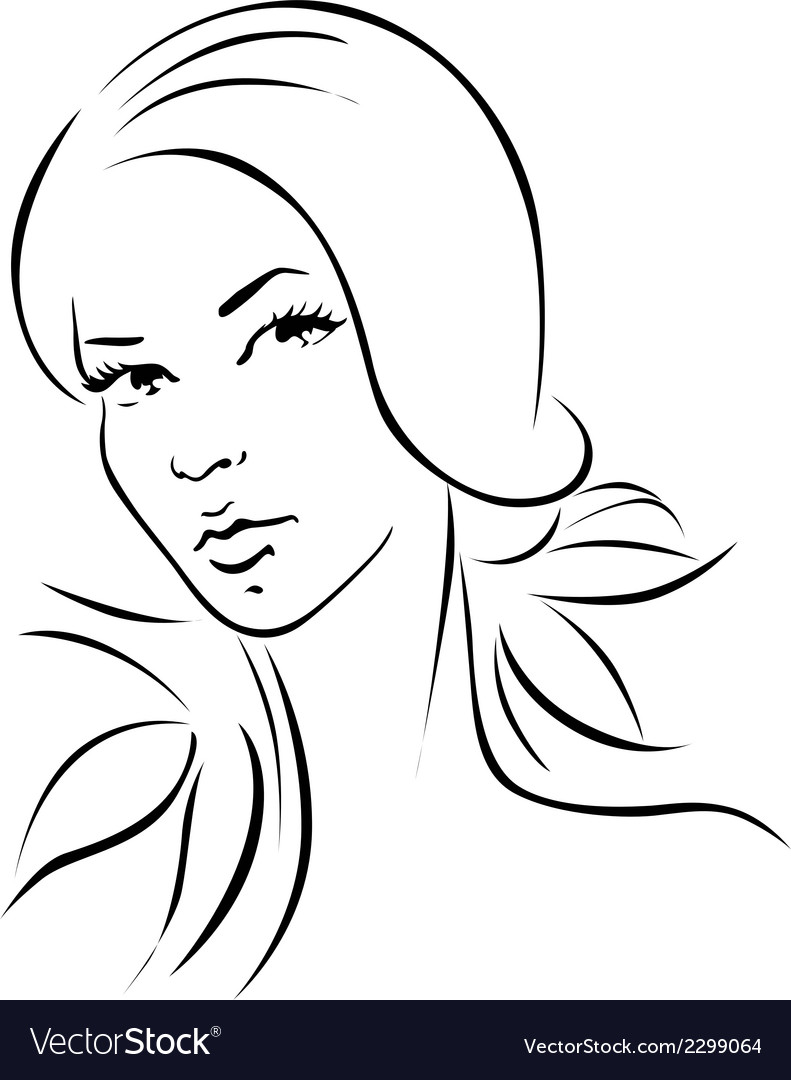 Woman - black outline portrait vector image