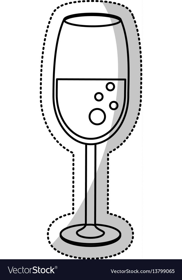 Glass cup champagne celebration outline vector image