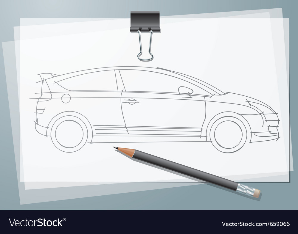 Car sketch vector image