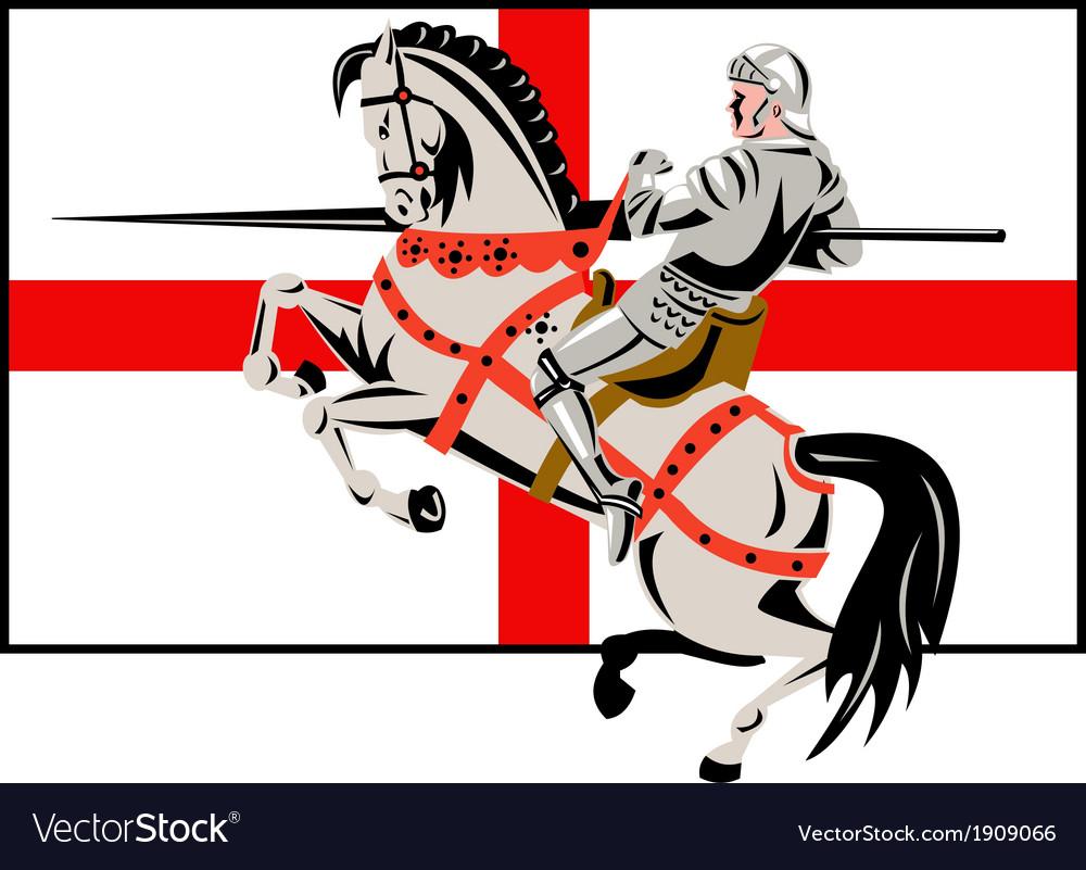 English Knight Lance Horse England Flag Side Retro vector image