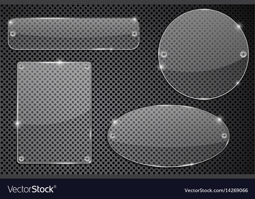 Transparent glass plate on metal background vector image