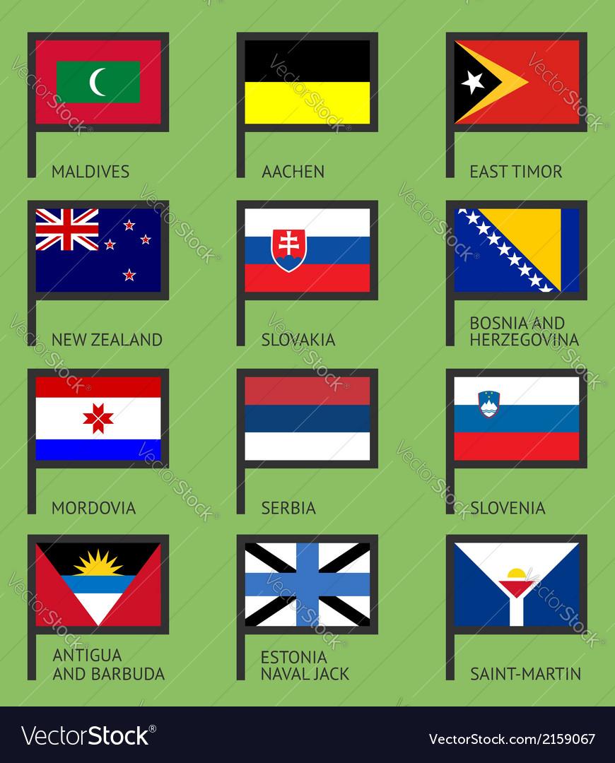 Flags flat set-12 vector image