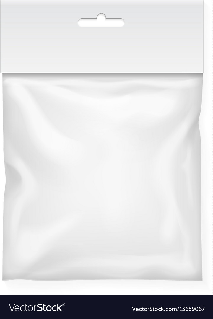 Plastic bag template white blank packaging vector image