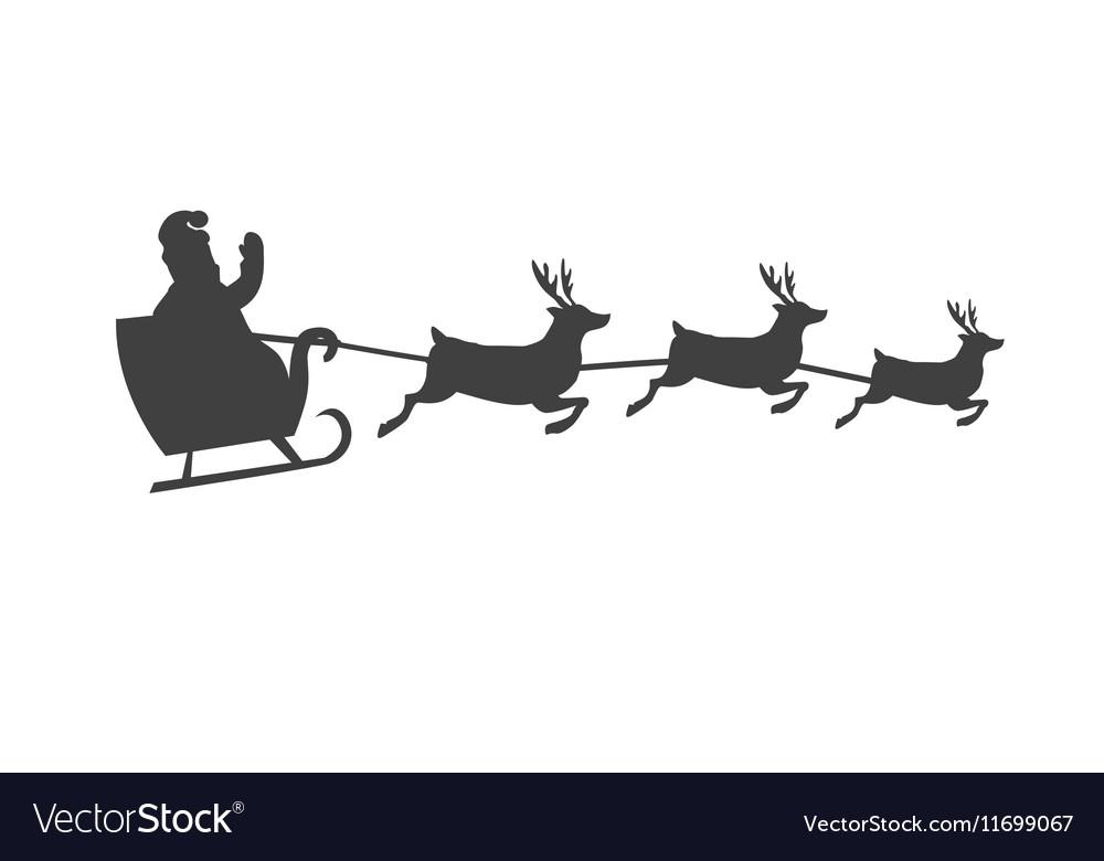 santa s sleigh with reindeer silhouette vector image - Santa With Reindeer