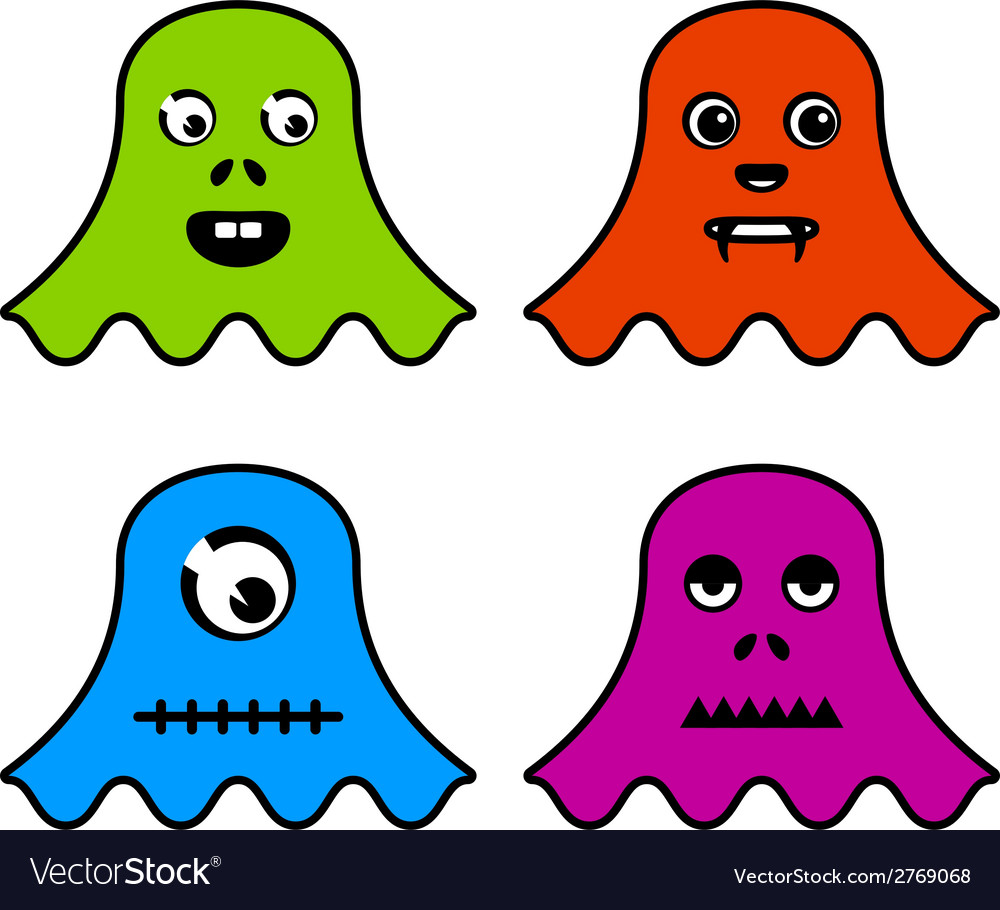Cute ghost monsters vector image