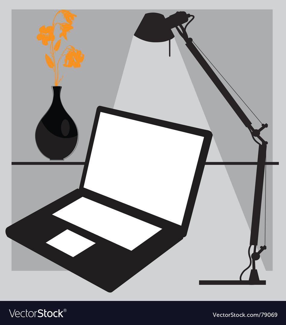 Desk laptop vector image