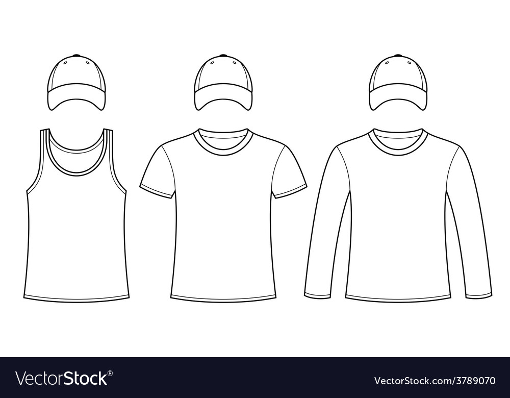 Singlet T-shirt Long-sleeved T-shirt and Cap vector image