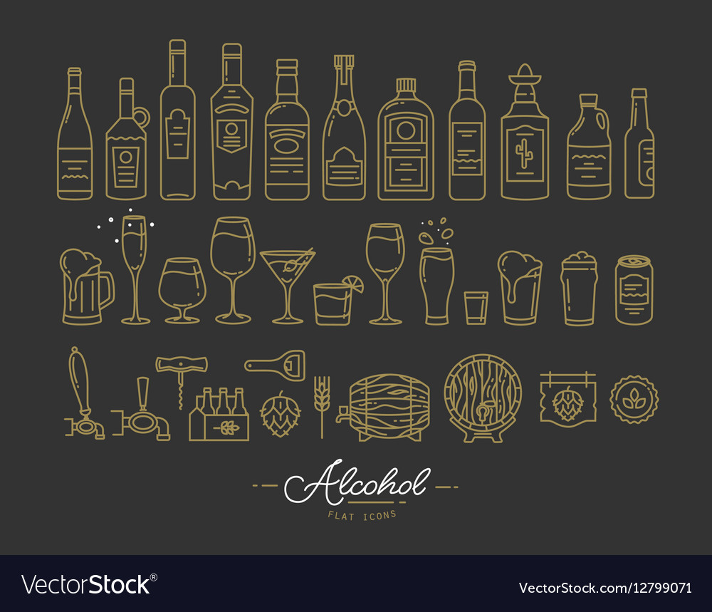 Flat alcohol icons gold vector image