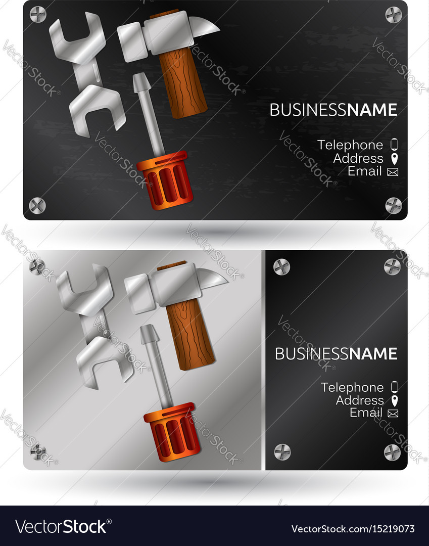 Business card for repair with a tool Royalty Free Vector