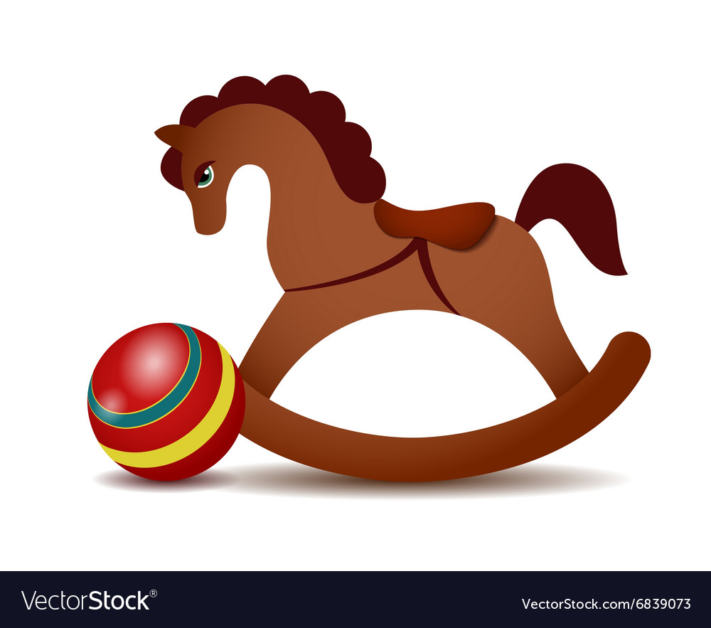 Rocking horse and a red ball vector image
