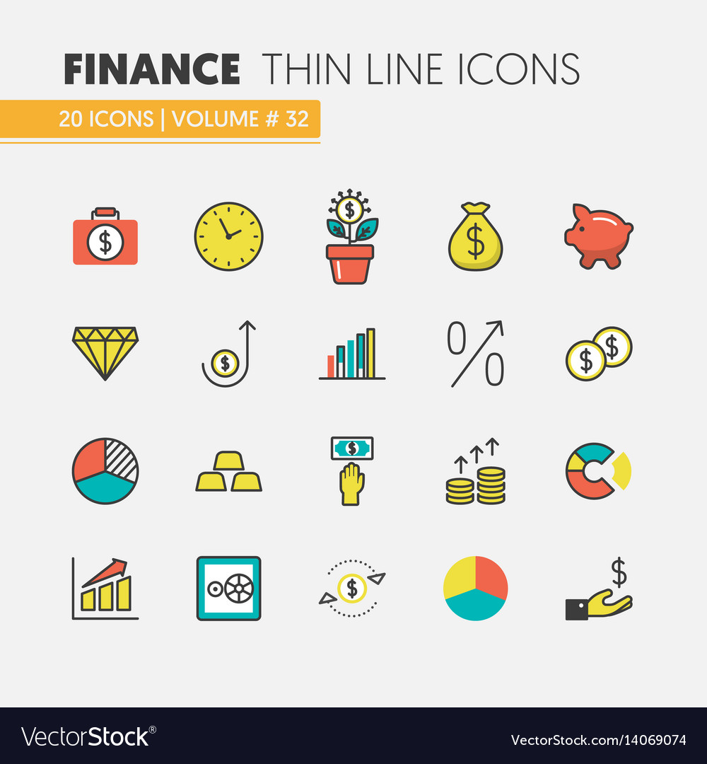 Finance investment linear thin icons set vector image