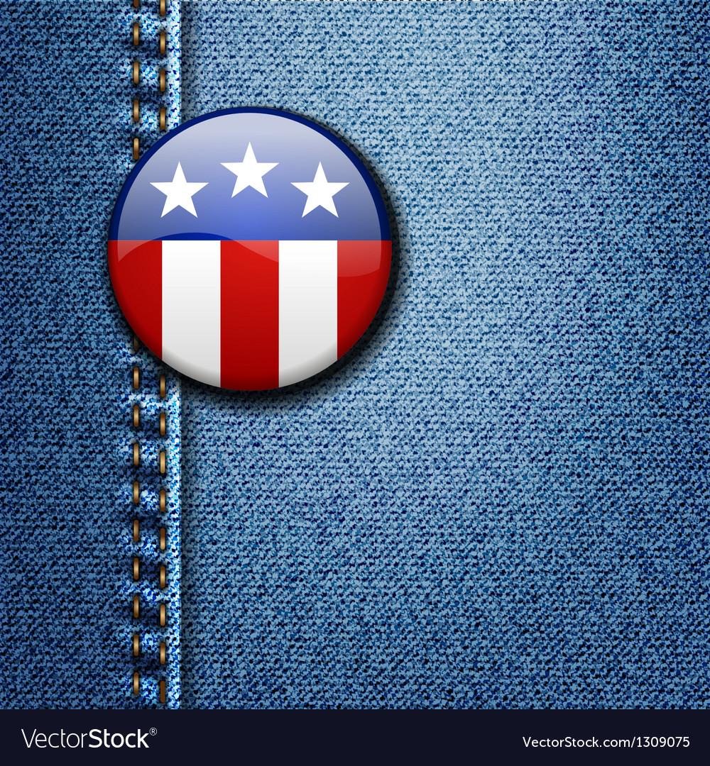 American Flag Emblem Badge On Jeans Denim vector image