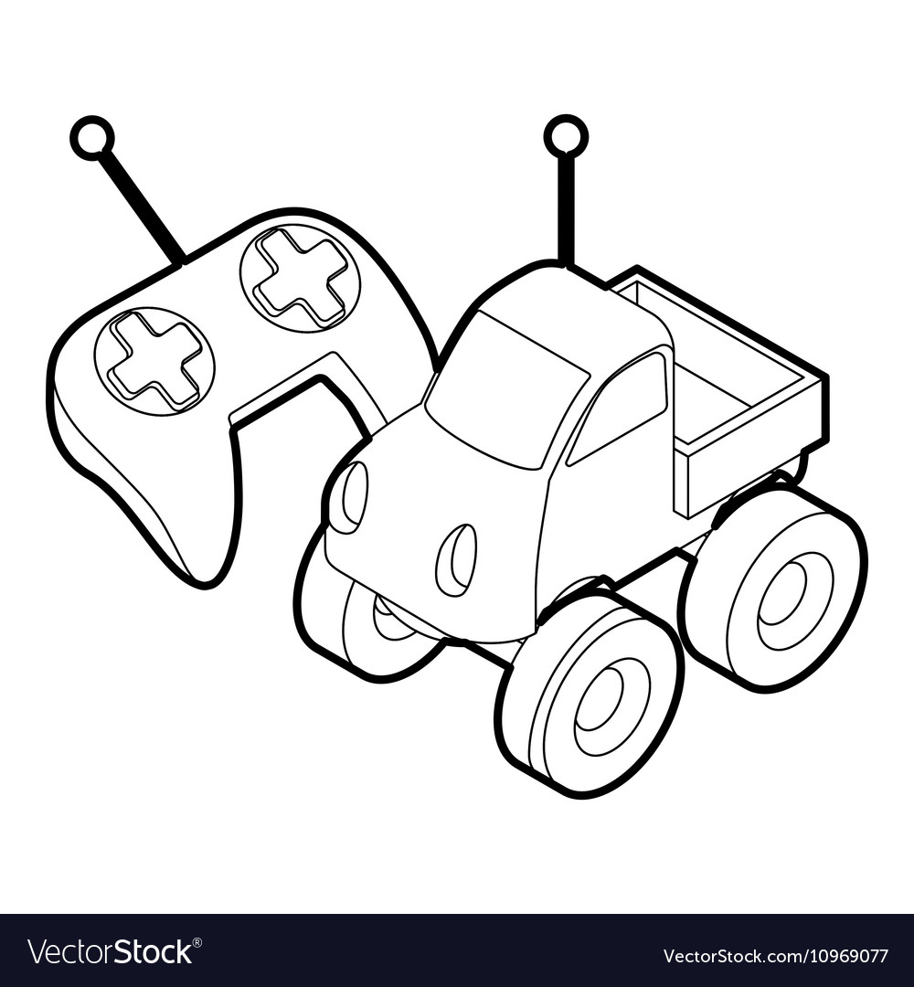 control remote car toy outline style royalty free vector