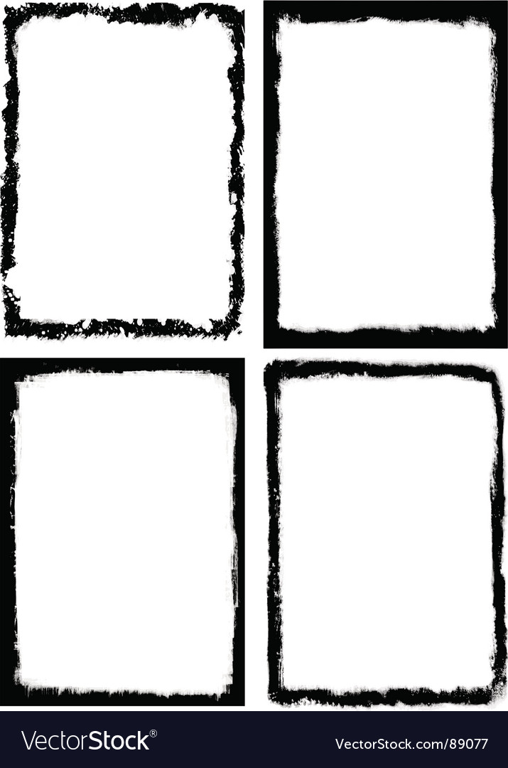 Set of 4 grungy frames vector image