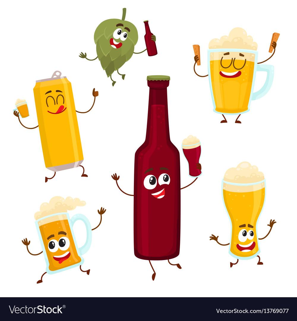 Smiling funny beer bottle glass can mug hop vector image
