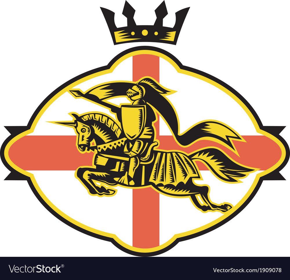 English Knight Riding Horse Lance Retro vector image