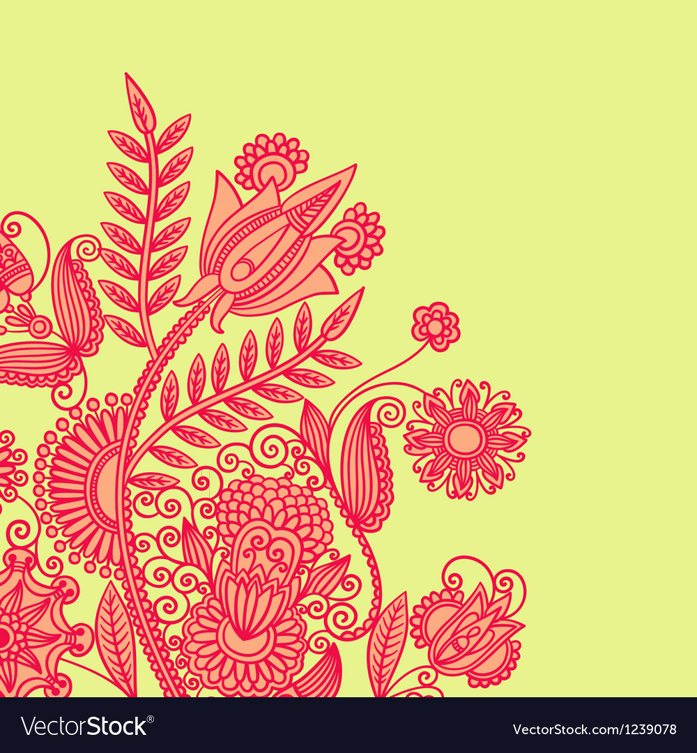 Hand draw ornate floral background vector image