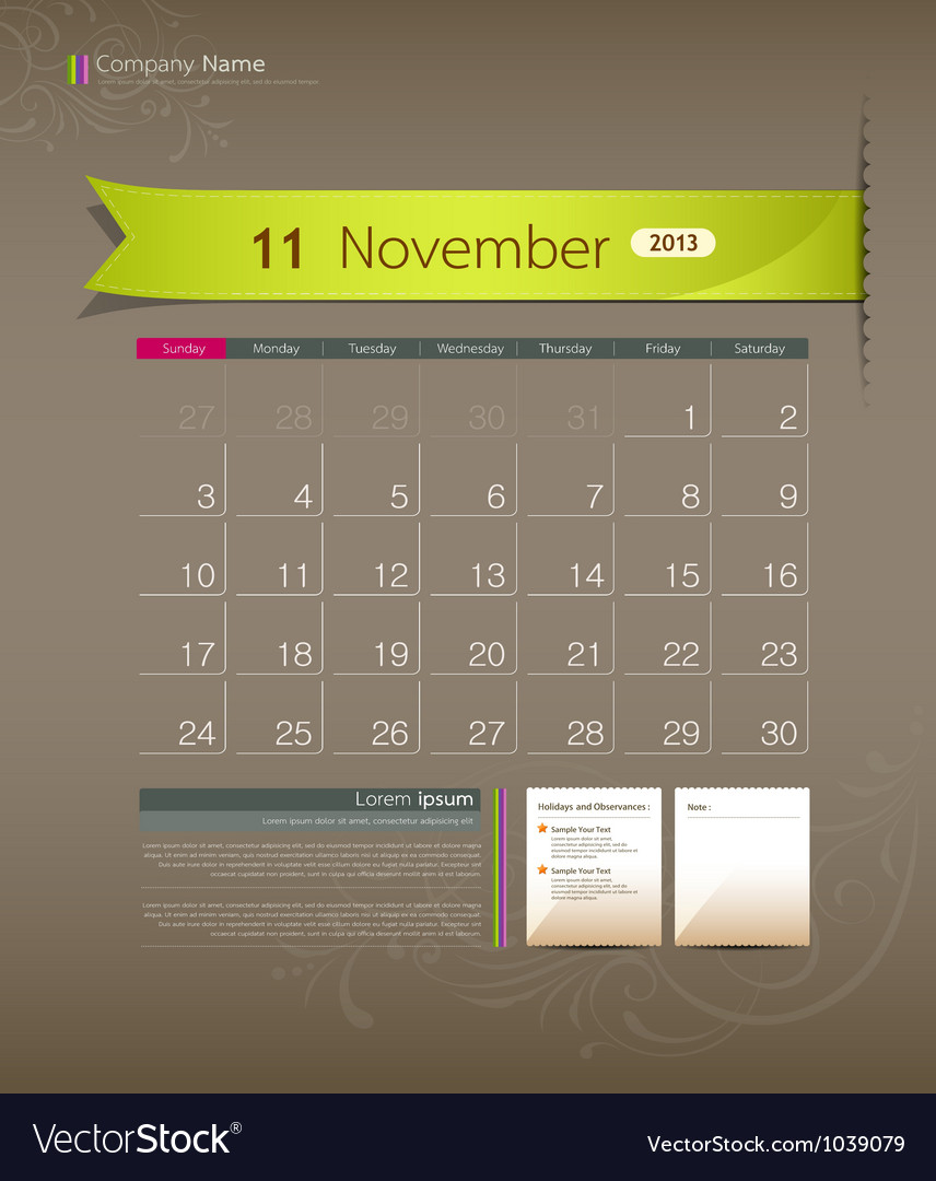November 2013 Calendar vector image