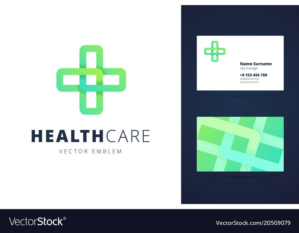 Health care logo and business card template vector image colourmoves