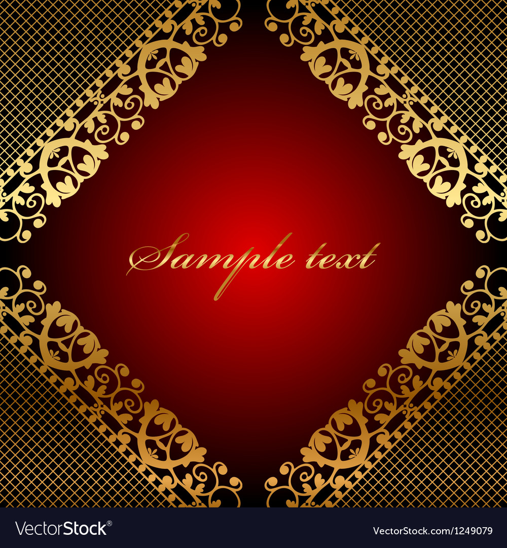 Red frame with gold lace vector image
