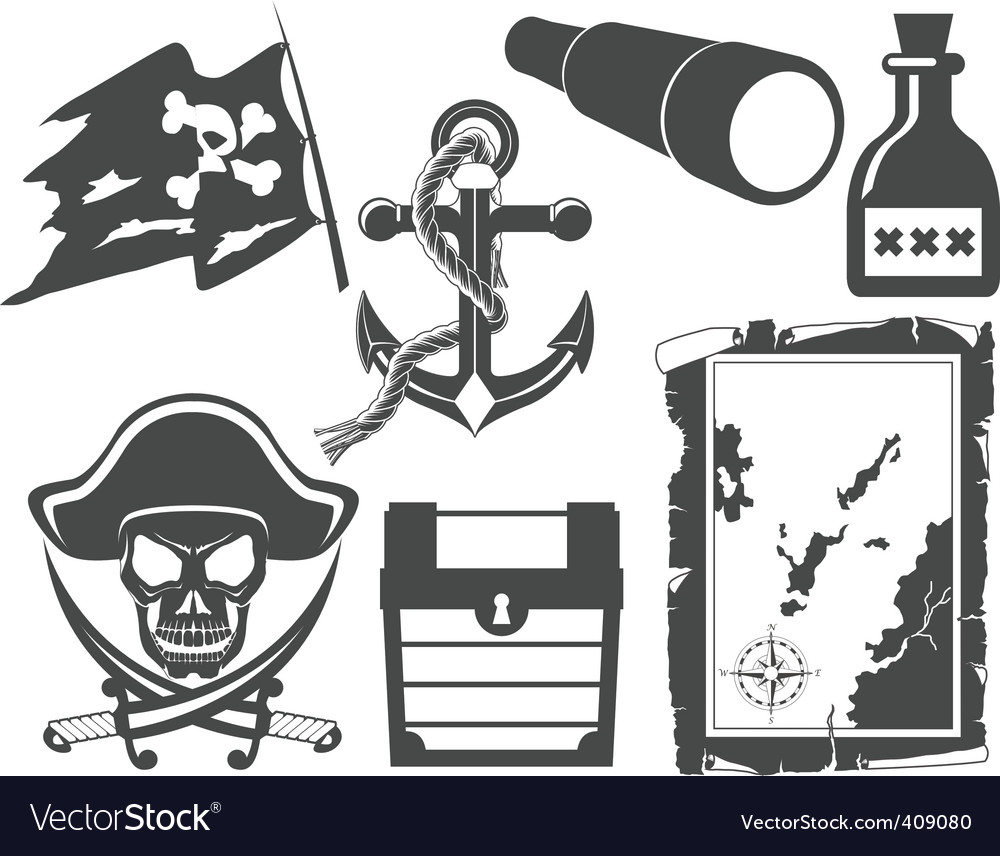 Pirate icons vector image