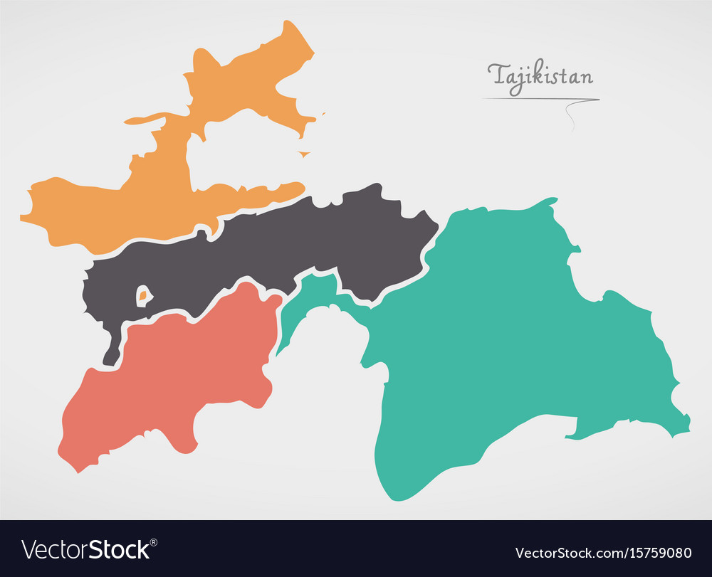 Tajikistan Map With States And Modern Round Shapes - Tajikistan map vector