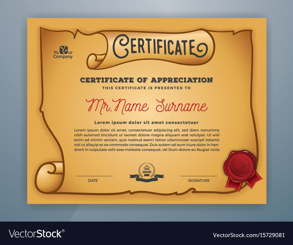 Multipurpose ancient certificate template design vector image