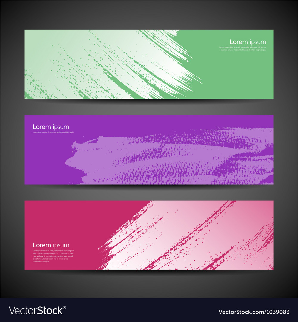 Paint brush background set vector image