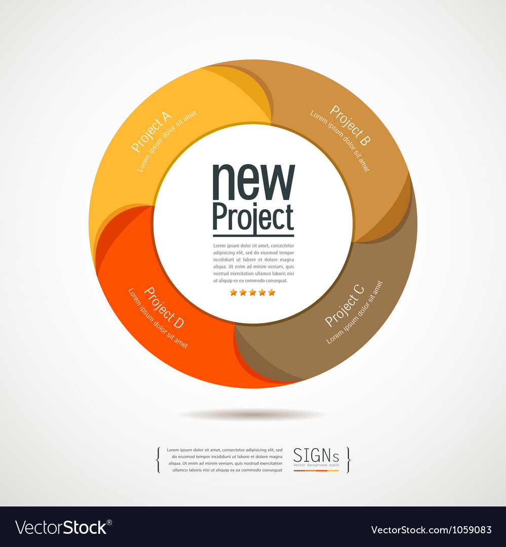 Colorful circular new projects design for business vector image