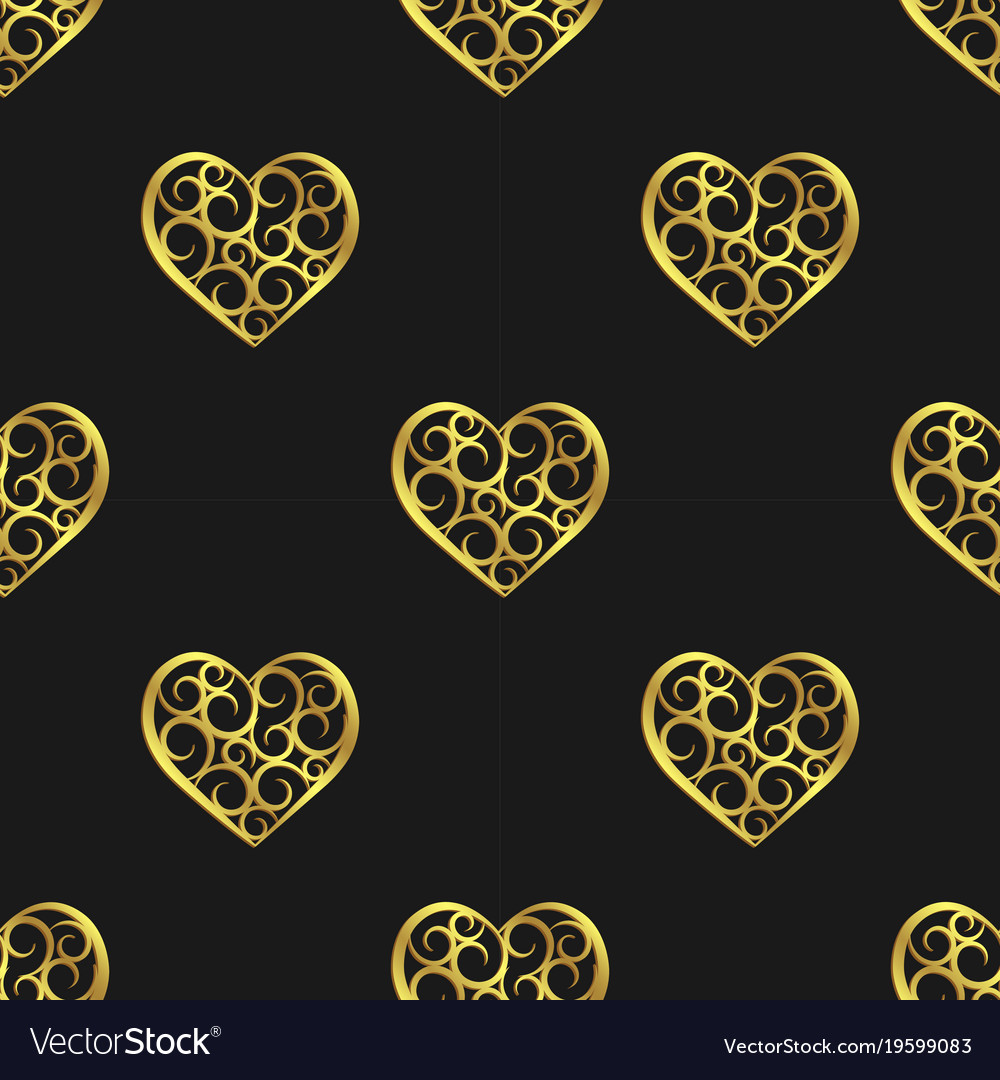 Valentines day in black seamless repeating vector image
