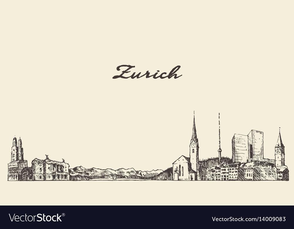 Zurich switzerland draw sketch vector image