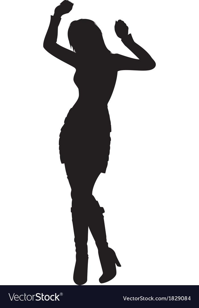 dancing girl silhouette vector image