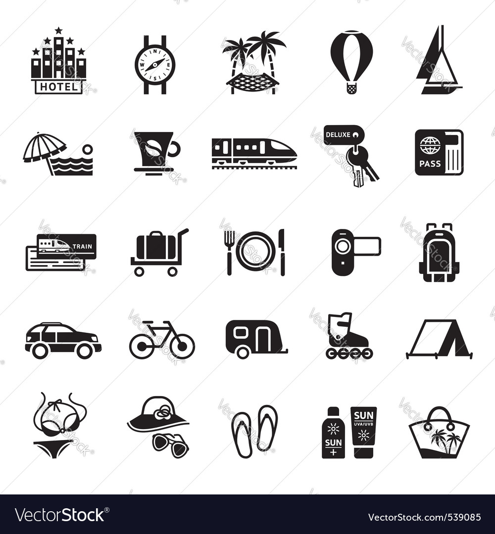 Signs vacation travel recreation vector image