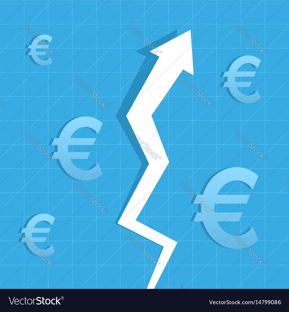 Graph arrow up euro increase value vector image