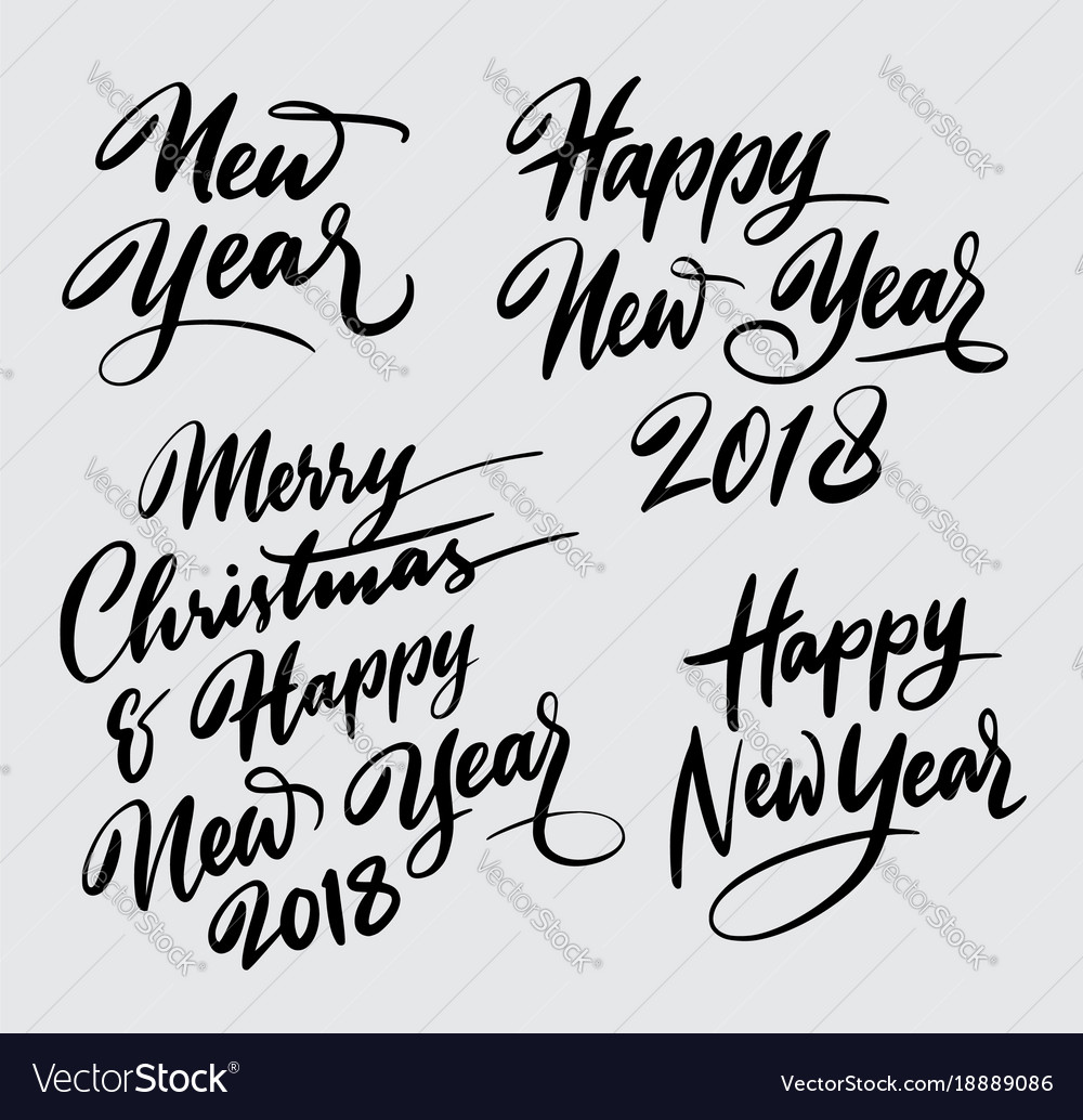 Merry christmas and happy new year handwriting cal vector image