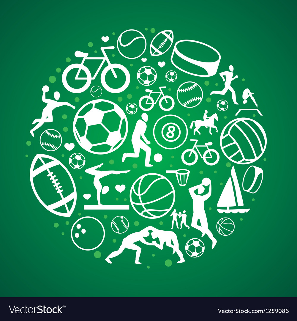 Round concept with sport icons and sign vector image
