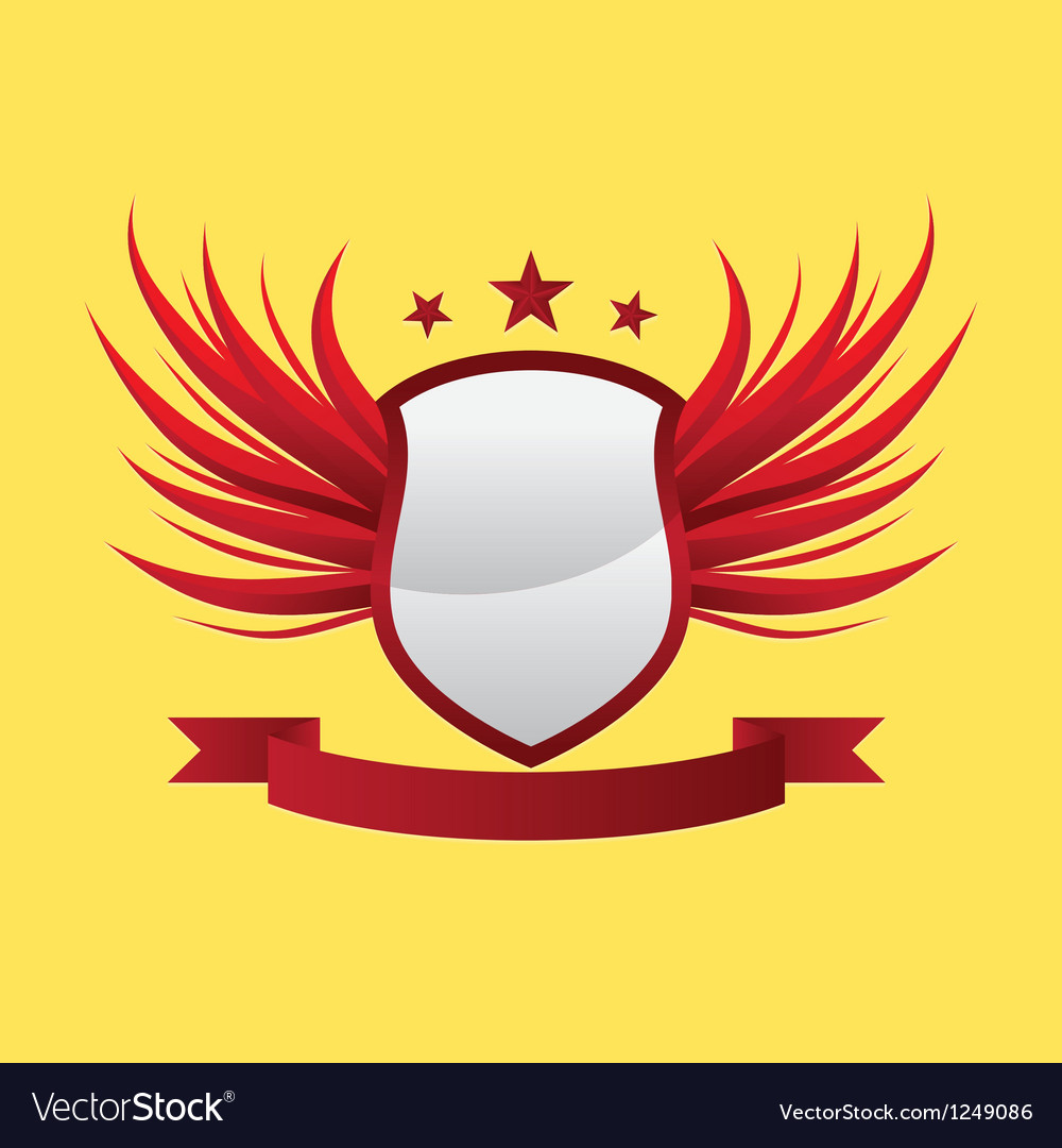 Wing-shield-red vector image