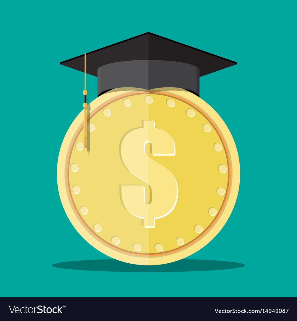Graduation cap and gold coin vector image
