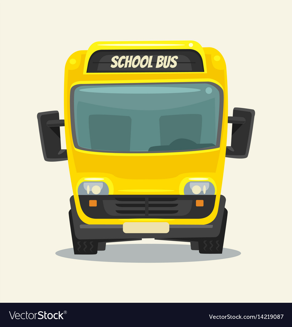 Yellow school bus back school front view vector image