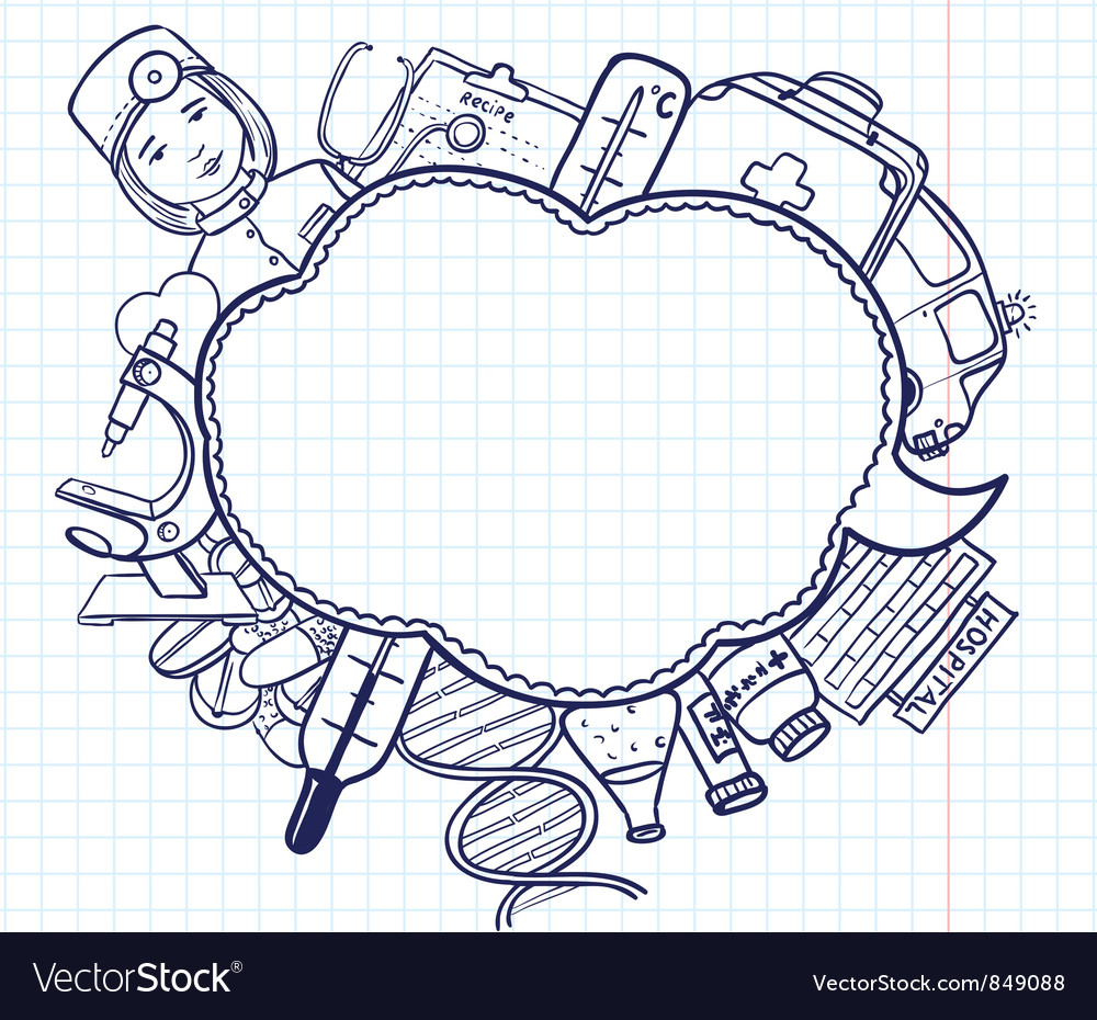Medical doodle vector image