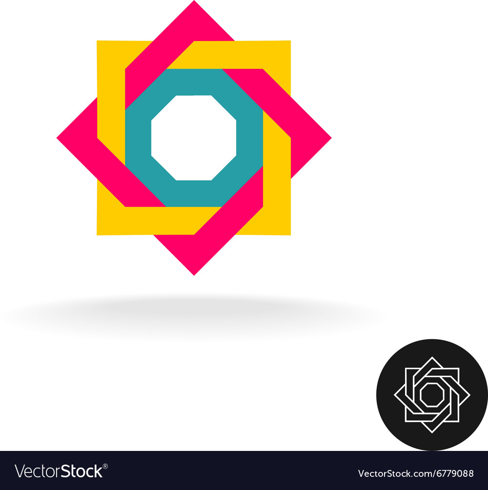 Abstract colorful square frame corner logo Outline vector image