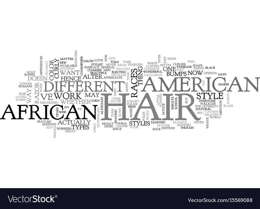 African american hair text word cloud concept vector image