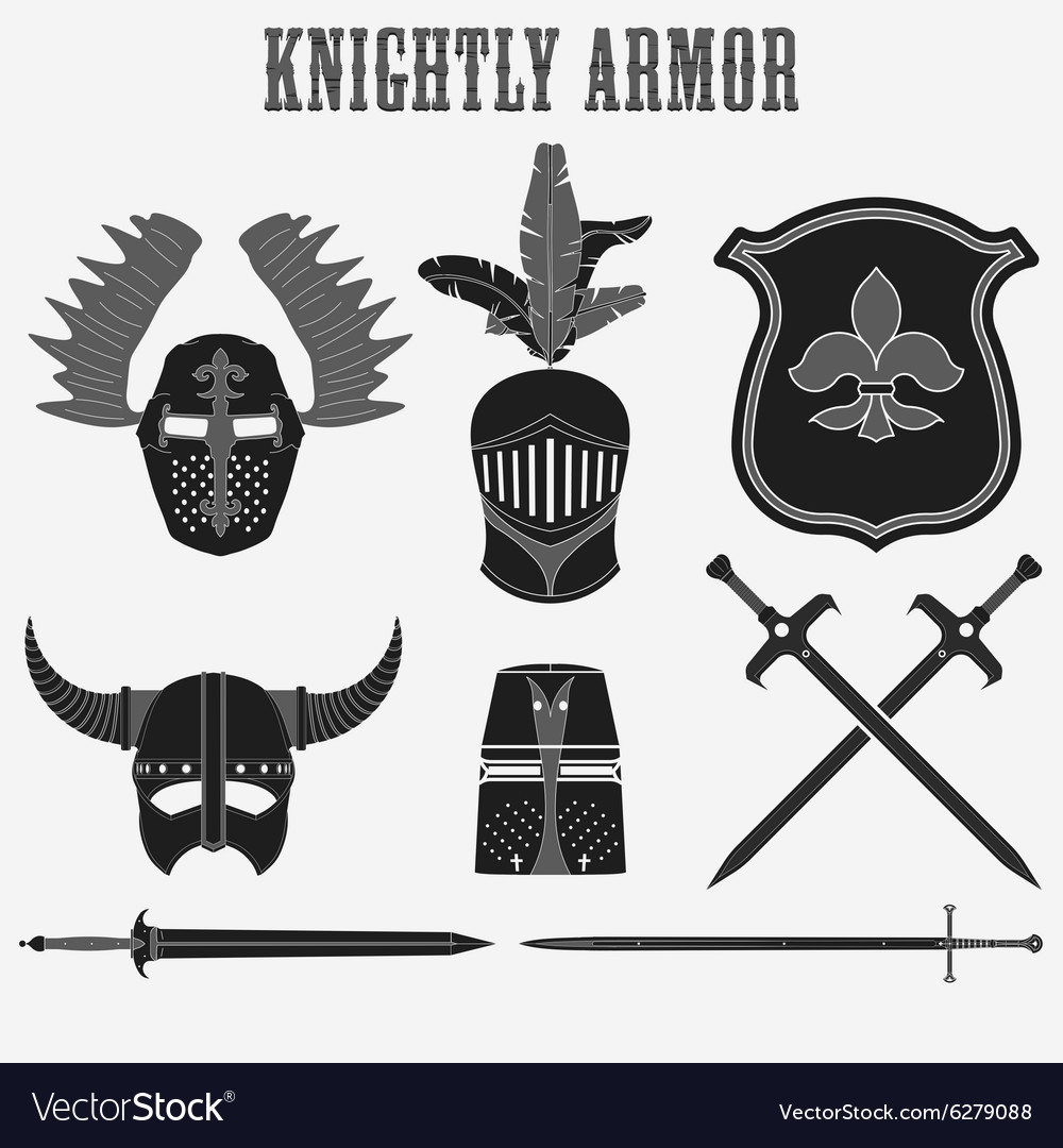 Knightly armor vector image