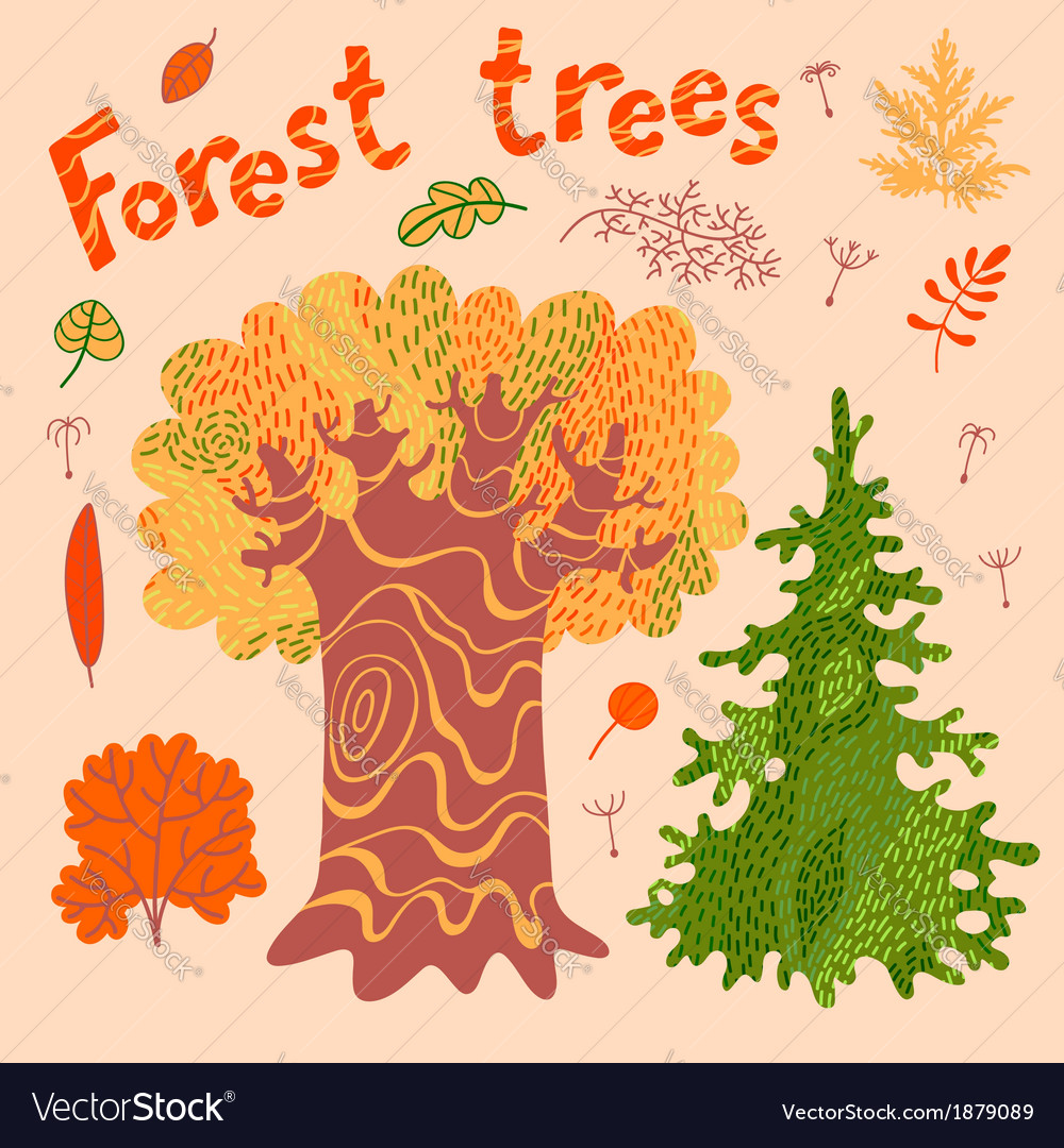 Forest trees bushes leaves vector image
