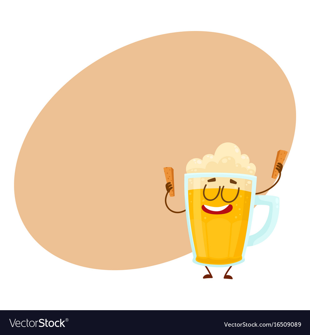 Funny beer mug character with smiling human face vector image