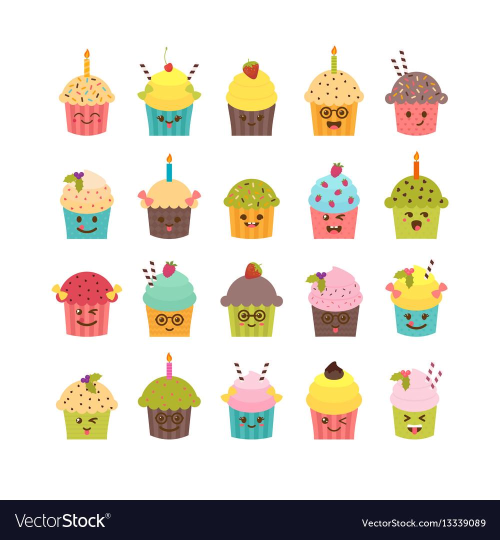 Set of cupcakes and muffins kawaii cupcakes set vector image