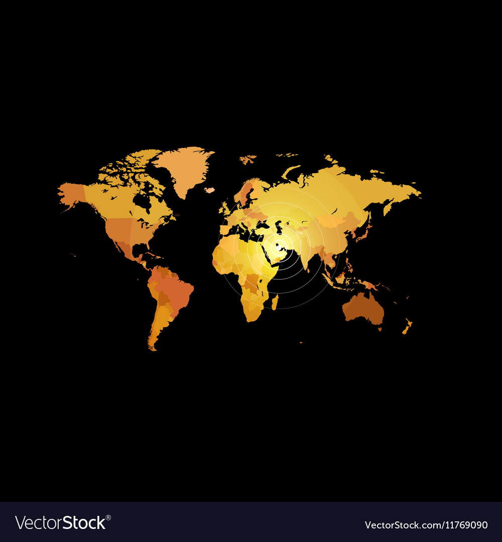 Orange color world map on black background globe vector image gumiabroncs Images